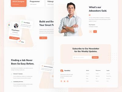 KereHor - Job Finder Landing Page landing header desktop layout design minimal ui design clean ux homepage website web design interface uiux ui work job finder job web landing page