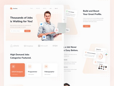 KereHor - Job Finder Landing Page landing header desktop layout design minimal ui design clean ux homepage website web design interface uiux ui work job finder job web landing page