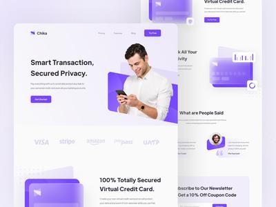 Chika - Smart Banking Landing Page header uiux finance smart bank website landing landing page web icon simple ui design minimal ux interface design clean banking app ui smart banking