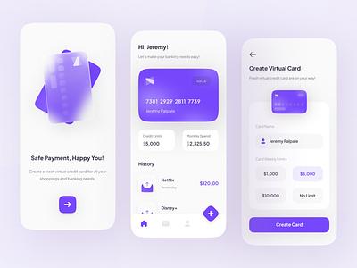 Chika - Smart Banking App UI glassmorphism layout minimal ios mobile clean simple icon interface ux ui ui ux ui design application credit card app banking smart finance uiux