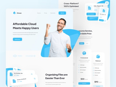 Diwan - Cloud Service Provider Landing Page service cloud header web icon simple clean minimal ux interface ui design landing page landing website cloud service web blue pricing ui  ux web design