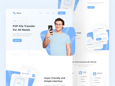 Shery - File Transfer Provider Landing Page uidesign website landing page transfer file animation blue web design web header landing ui  ux ui design simple design minimal interface clean ux ui
