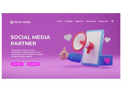 social media marketing business amazing good landing page website illustration web design social media marketing funny cute clay 3d art 3d illustration