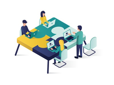 Teamwork Concept Isometric Illustration