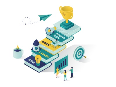 Reach Success Isometric Illustration