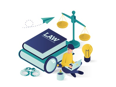 Justice And Law education Isometric Illustration