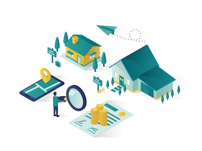 real estate isometric illustration amazing good landing page website isometric design illustration homepage smartphone mobile phone magnifier certificate money for rent for sale for looking searching home house