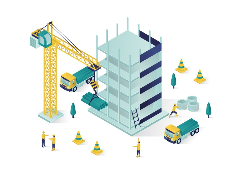 building under construction isometric illustration by Rizal on ...