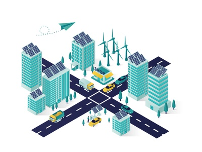 City Solar Panel Energy Isometric Illustration website isometric design illustration 3d isolated transport shop smart save green renewable energy people charging car electricity electric building city