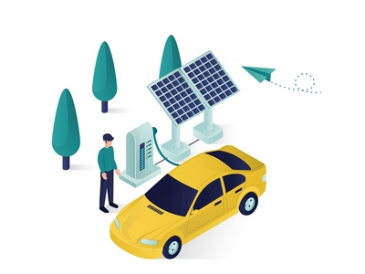 Car Charging Solar Panel Energy Isometric Illustration 04 people vector design illustration isometric modern power green environment electrical ecological 3d isolated waiting standing man tree transportation charging car