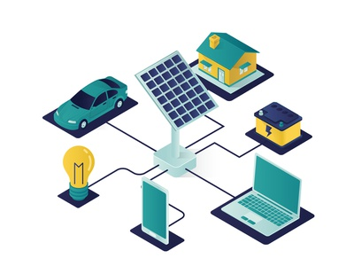 Solar Panel Energy Isometric Illustration landing page isometric design illustration electrical 3d isolated transport car electricity electric lamp light smartphone mobile phone laptop battery house home solar panel