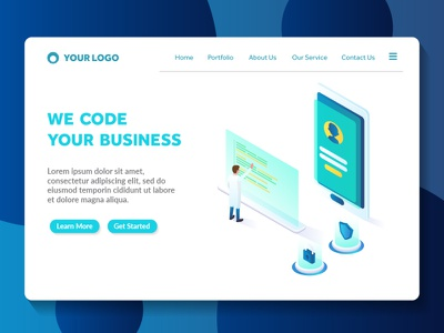 apps coding isometric website landing page light futuristic style technology modern color amazing ux ui apps landing page web page isometric programming coding