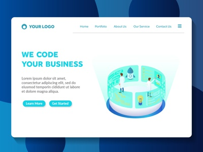 programming and coding isometric website landing page light futuristic style technology modern color amazing ux ui apps landing page web page isometric programming coding