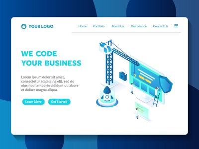 building a website isometric landing page template illustration builder light futuristic style technology modern color amazing ux ui apps web page isometric programming coding landing page web website building