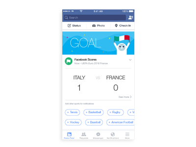 Facebook Home Notifications weather notifications ux ui design scores sports soccer facebook