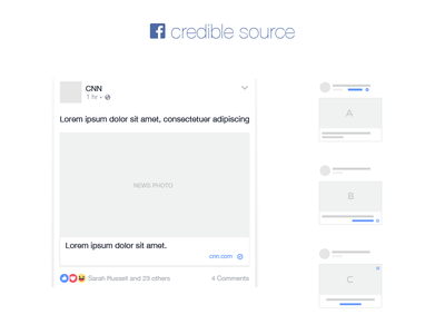 Facebook Credible Source  news feed ui credible source hoax like share home feed icon badge illustration facebook