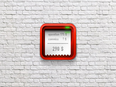 Terminal check bill sales icon ios iphone ipad money wall masonry brick paladin engineering pay