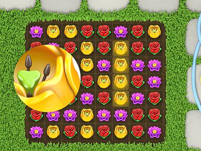 Match 3 Game flowers 3d art 3d game design game art games paladin-engineering