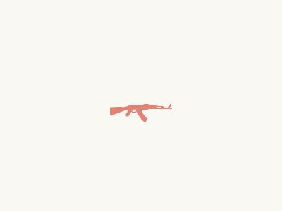 Cute Ak 47 machine gun gun automatic rifle kalashnikov ammo pink flat