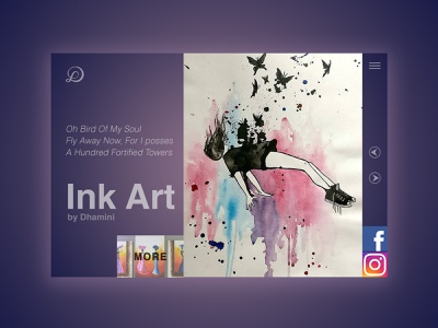 Ink Art by Dhamini painting inkart portfolio art minimal typography website webdesign ux ui psd logo design