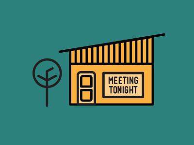 Meeting Tonight orange tree house door meeting green