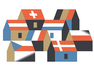 Cottages vektorgrafik vector ferienhaus cottage real estate immobilien illustration houses