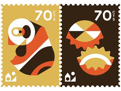 Stamped Interview vektorgrafik vector illustration bottle caps can briefmarken stamps