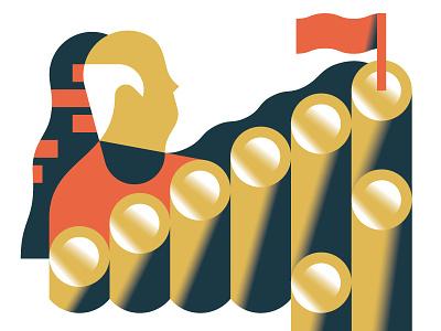 Saving for retirement editorial magazine vektorgrafik vector illustration versicherung insurance rente finances retirement pension