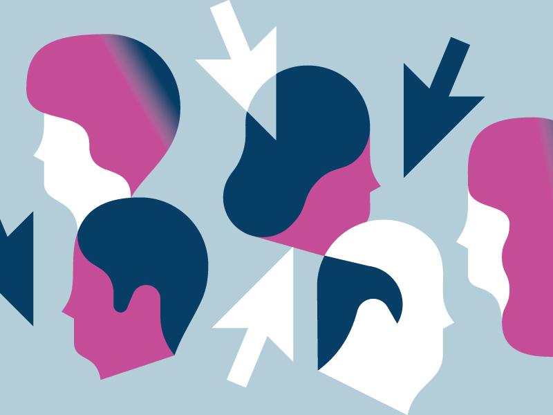 Headhunter print editorial vektorgrafik illustration vector recruiting