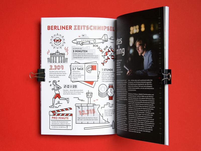 Infographics Berliner Sparkasse vektorgrafik vector print monoline infographic illustration