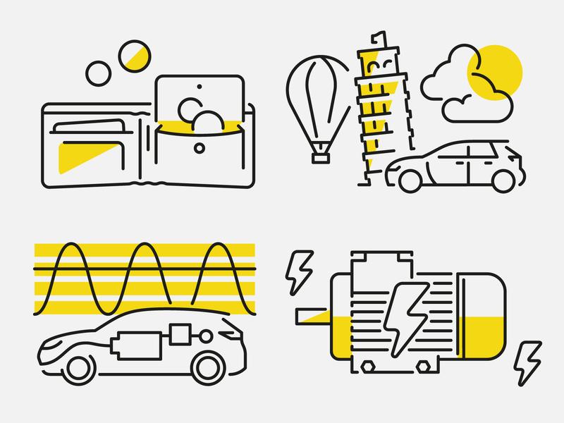 Electromobility Facts vektorgrafik vector illustration technology electromobility eletric car editorial car automobile