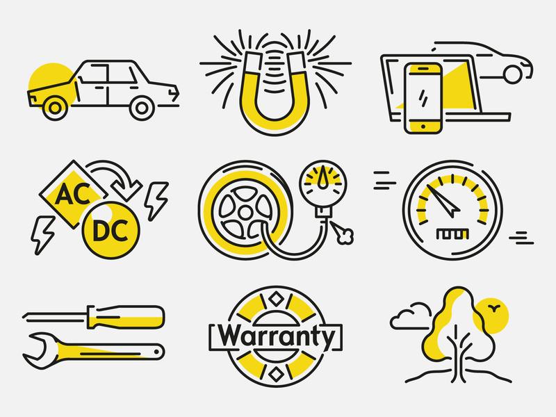 More Electromobility Facts vektorgrafik vector batteries technology illustration eletric car electromobility editorial car automobile