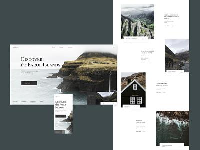 Faroe Islands adobe photoshop adobe xd figma style clean typography design minimal website web ux ui