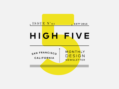 High Five grey yellow number typography newsletter