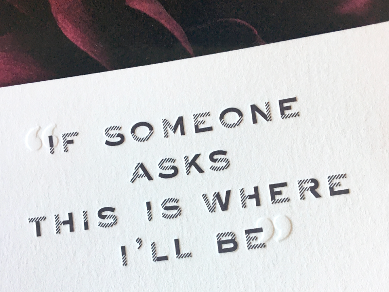 This is where I'll be quote layout card rsvp invitation flower purple blind deboss type letterpress