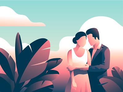 Romantic Couple love romantic leaves tropical wedding couples couple gradient vector illustration