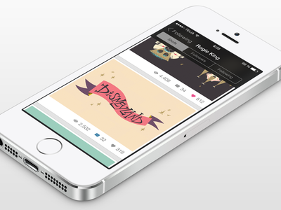 Dribbble for iOS 7 - Profile View (V.2) app ios7 dribbble retina 2x @2x ios 7 dribbble app flat profile profile view