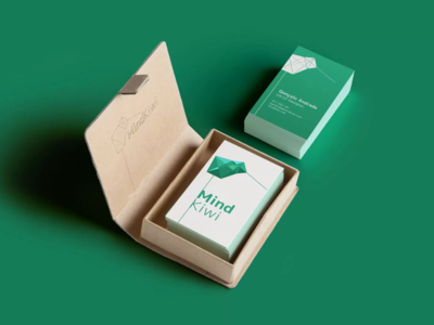 Mind Kiwi business cards mental health cards clinic logo