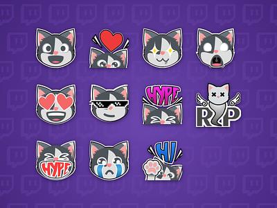 Cheese Emotes illustration icon twitch cat emoji emotes