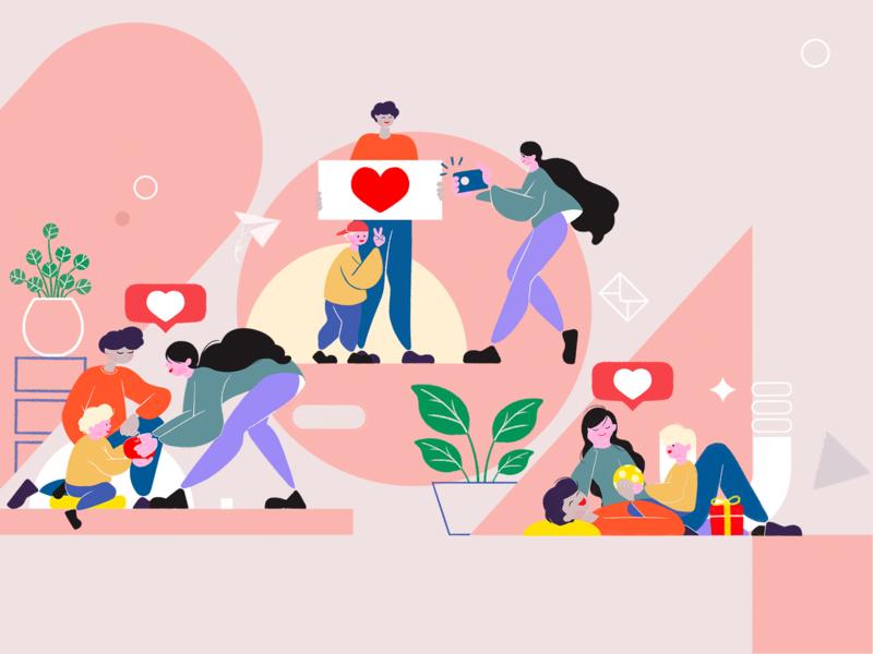 2020 02 14 向量 一家人 设计 插图 平面 animation vector flat illustration design