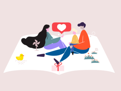 Let's Read 插图 一家人 typography branding c4d animation vector flat illustration design