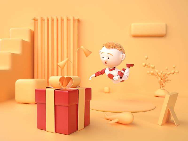 Baby gift logo branding animation vector flat illustration design