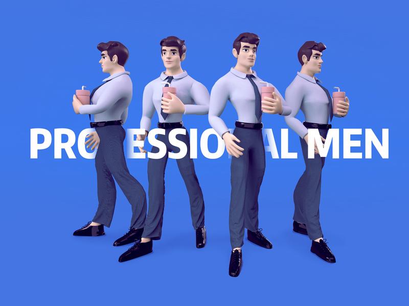 Professional men typography branding c4d animation vector illustration design