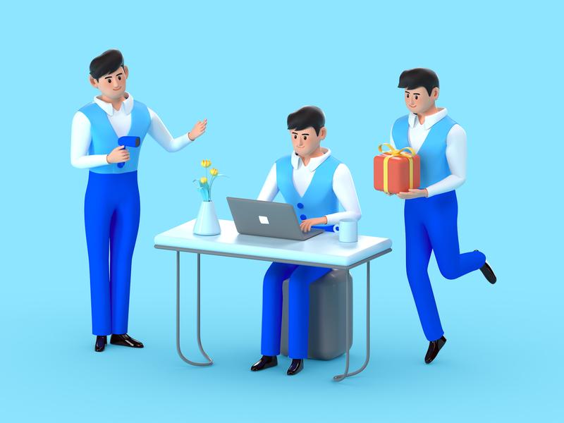 workers-1 branding animation vector flat illustration design