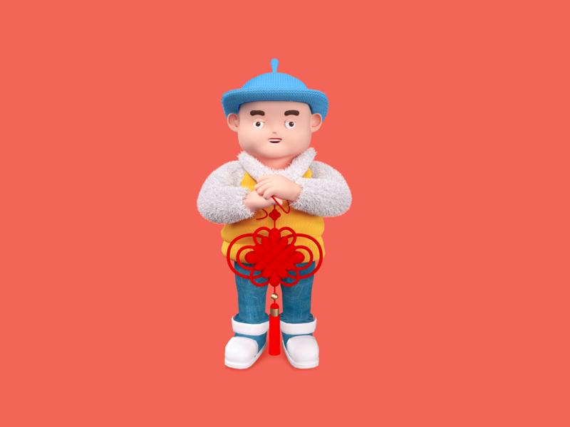 Spring Festival-Chinese knot c4d 一家人 设计 插图 平面 animation vector flat illustration design