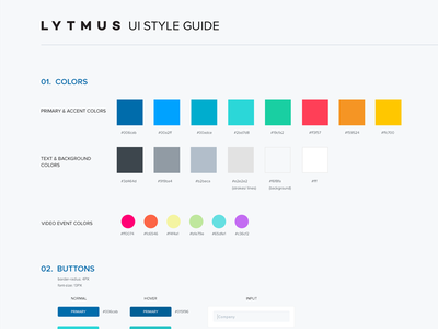UI Style Guide style guide web product guide colors clean dashboard interface