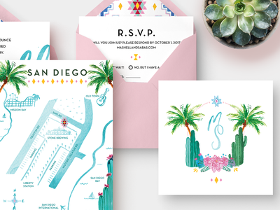 Southwest Wedding Reception Invites palm tree invite print cactus watercolor illustration stationary wedding map rsvp morrocan southwest flower envelope