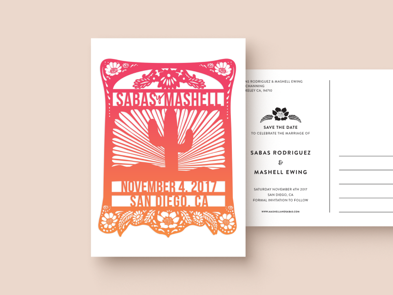 Papel Picado Save the Date save the date invite illustration wedding mexico fiesta bright papel picado