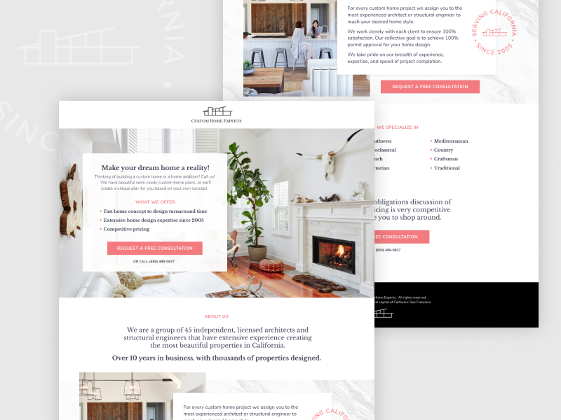 Architectural Landing Page branding house badge vector website landing design web design landing page archtiecture