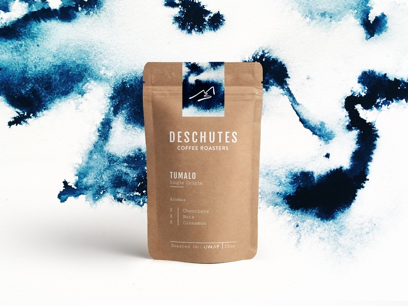 Coffee Roaster Packaging identity branding package design oregon blue whimsical watercolor coffee packaging